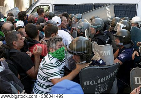 Sofia, Bulgaria - 2 September, 2020: Protesters Clash With Police During An Anti-government Protest