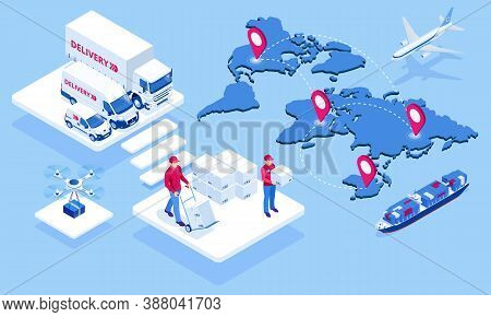 Global Logistics Network Isometric Illustration Icons Set Of Air Cargo Trucking Rail Transportation