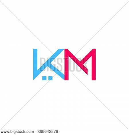 Letter Km Real Estate Symbol Simple Geometric Logo Vector