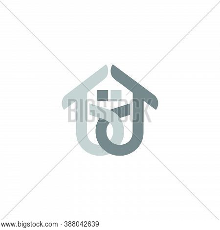 Abstract Letter Bd Linked Colorful Home Logo Vector