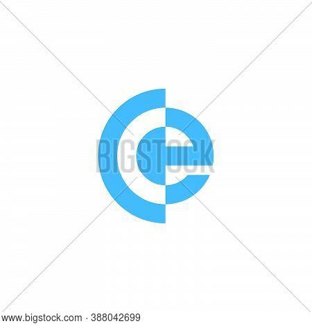 Abstract Letter Ce Stripes Slice Design Logo Vector