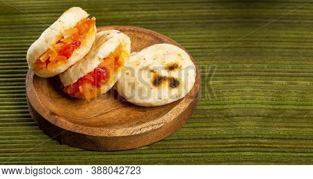 Delicious Colombian Corn Arepas With Hogao - Colombian Breakfast