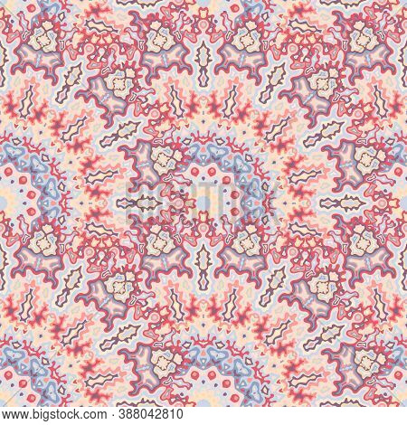 Fractal Flower Seamless Pattern. Oriental Ethnic Vector Composition. Tangle Arabesque Kaleidoscope G