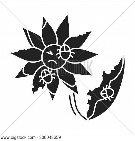Pests And Diseases In Flower Black Glyph Icon. Bacterias That Destroy And Kill The Plant. Pictogram