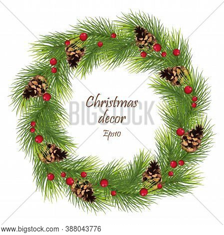 Green Pine Wreath / Garland / Branch With Cones. Christmas Tree Garland. New Year And Christmas Part