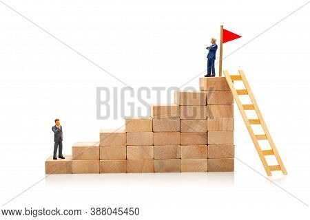 Difficult And Easy Way To Achieve The Goal. Career Growth Concept. One Businessman At The Beginning