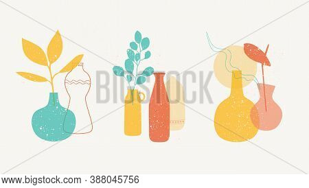 Contemporary Art Posters With Compositions Of Ceramics. Abstract Still Life Set Of Different Decorat