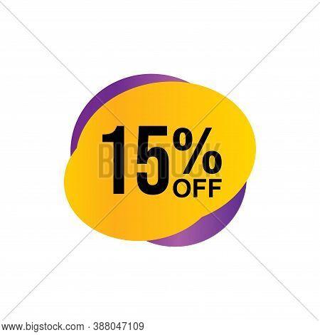 15% Sale Tag Vector Badge Template, 15% Sale Label Collection, Clearance Sale Sticker Emblem, Bargai
