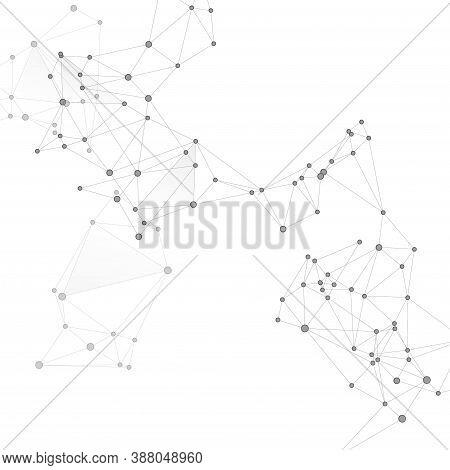 Social Media Communication Digital Concept. Network Nodes Greyscale Plexus Background. Information T