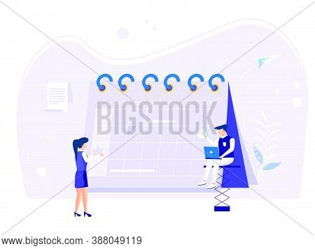 Planning Concept. Time Schedule By Filling In The Time Schedule. Vector Illustration Of Teamwork And