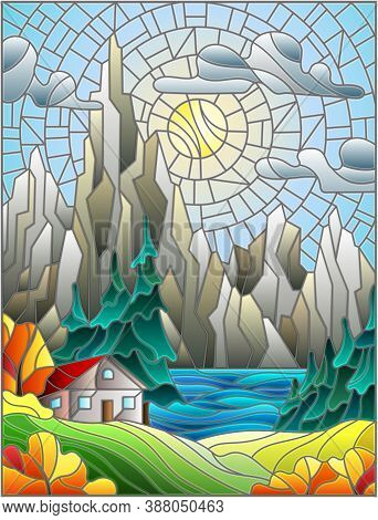 Illustration In Stained Glass Style With A Lonely House On A Background Of Pine Forests, Lakes , Mou