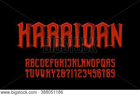 Harridan Alphabet Font. Messy Old Time Letters And Numbers. Stock Vector Illustration For Your Hallo