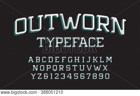 Outworn Alphabet Font. Scratched Vintage Letters And Numbers. Vector Typescript For Your Typography