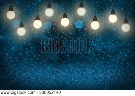 Light Blue Cute Sparkling Abstract Background Light Bulbs With Sparks Fly Defocused Bokeh - Festival