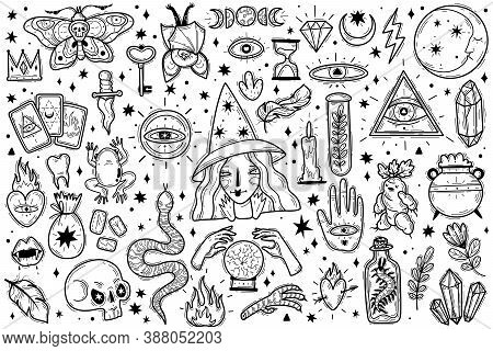 Magic Icons Doodles Outlines Set. Magic Icons Doodles Outlines Set. Hand Drawn Doodle Sketch Style V