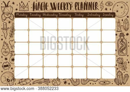 Magic Icons Doodles Planner. Magic Weekly Planner. Hand Drawn Doodle Sketch Style Vector Illustratio