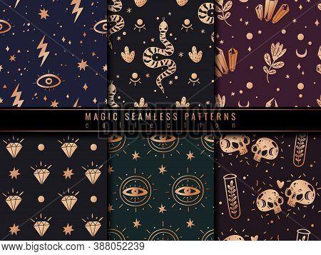 Magic Icons Doodles Golden Seamless Patterns Set. Magic Witch Icons Golden Seamless Patterns Set. Ha