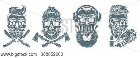 Black White Skulls Professions Emblems. Hipster Skulls Set. Silhouette Heads Vector Isolated Illustr
