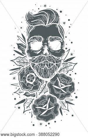 Skull Roses Vertical Illustration. Hipster Skulls Roses Set. Indie Barber Dark Face Tattoo Symbol Sk
