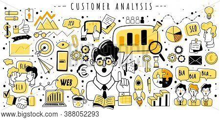 Web Analytics Doodle Horizontal Illustration. Seo Web Analytics Doodles Elements Horizontal Illustra