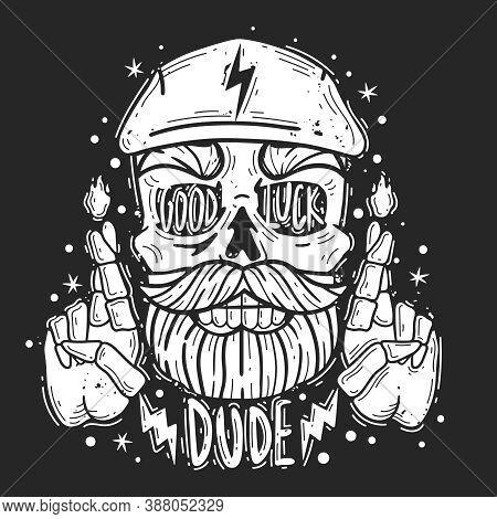 Hipster Skull Dude Illustration. Hipster Skull Dude Emblem. Silhouette Heads Vector Isolated Illustr
