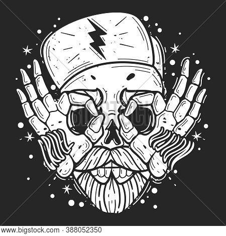 Hipster Skull Illustration. Hipster Skull Emblem. Silhouette Heads Vector Isolated Illustration. Bru