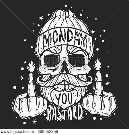 Hipster Skull Monday Slogan Illustration. Hipster Skull Monday Quote Emblem. Silhouette Heads Vector
