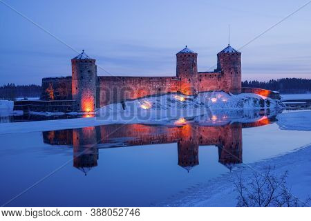 Olavinlinna Fortress (olafsborg) In March Twilight. Savonlinna, Finland