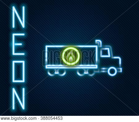 Glowing Neon Line Tanker Truck Icon Isolated On Black Background. Petroleum Tanker, Petrol Truck, Ci
