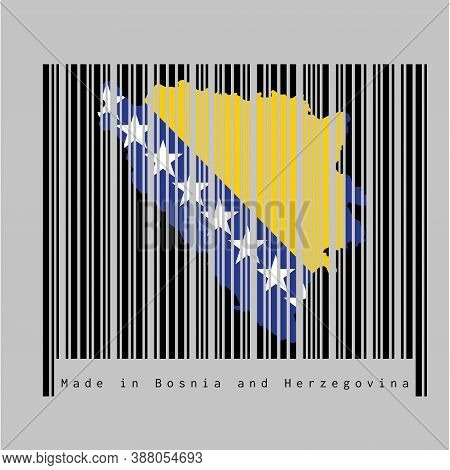 Barcode Set The Shape To Bosnia Map Outline And The Color Of Bosnia Flag On Black Barcode With Grey
