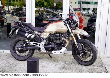 Bordeaux , Aquitaine / France - 09 25 2020 : Moto Guzzi V85 Tt Motorcycle Front Of Bike Dealer Motor