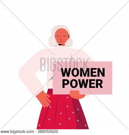 Senior Woman Activist Holding Poster Female Empowerment Movement Women Power Concept Portrait Vector