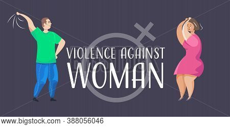 Angry Husband Punching And Hitting Wife Stop Domestic Violence And Aggression Against Women Concept