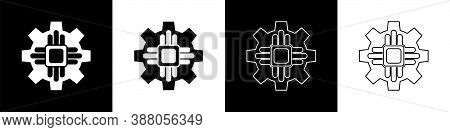 Set Processor Icon Isolated On Black And White Background. Cpu, Central Processing Unit, Microchip,