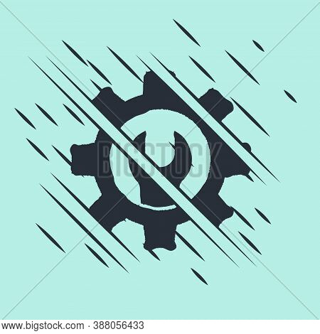 Black Wrench Spanner And Gear Icon Isolated On Green Background. Adjusting, Service, Setting, Mainte