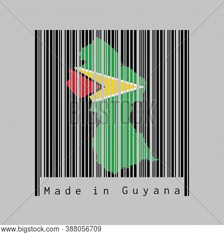 Barcode Set The Shape To Guyana Map Outline And The Color Of Guyana Flag On Black Barcode With Grey