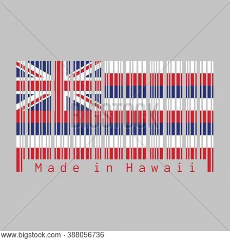 Barcode Set The Color Of Hawaii Flag, Eight Alternating Horizontal Stripes Of White, Red, And Blue,