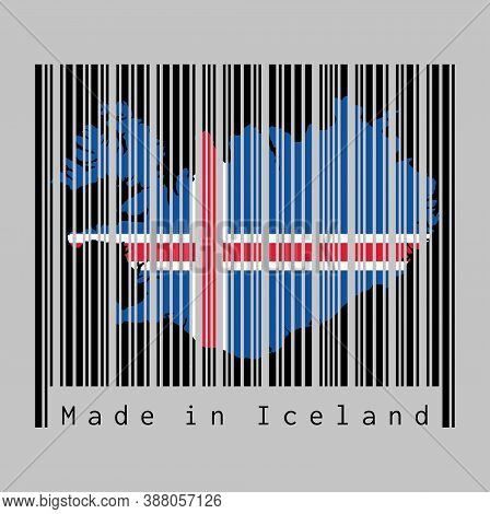 Barcode Set The Shape To Iceland Map Outline And The Color Of Iceland Flag On Black Barcode With Gre