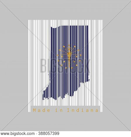 Barcode Set The Shape To Indiana Map Outline And The Color Of Indiana Flag On White Barcode With Gre