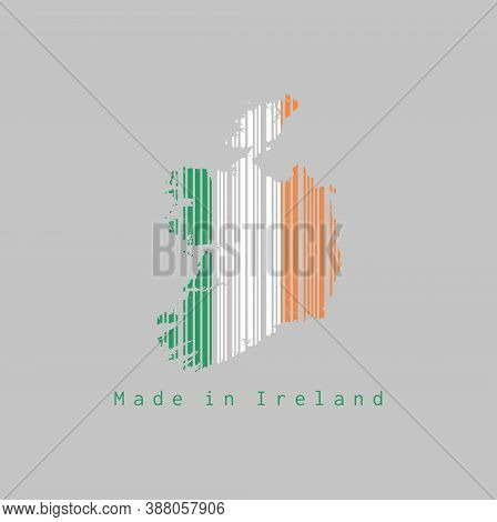 Barcode Set The Shape To Ireland Map Outline And The Color Of Ireland Flag On Grey Background, Text: