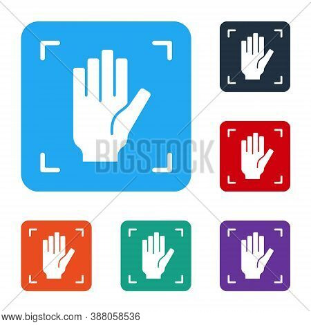 White Palm Print Recognition Icon Isolated On White Background. Biometric Hand Scan. Fingerprint Ide
