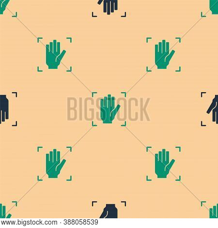 Green And Black Palm Print Recognition Icon Isolated Seamless Pattern On Beige Background. Biometric