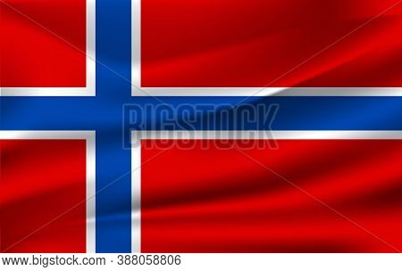 Realistic Waving Flag Of The Norway. Fabric Textured Flowing Flag,vector Eps10