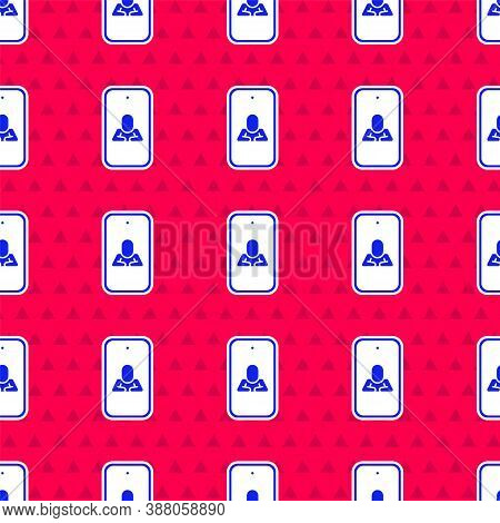 Blue Online Psychological Counseling Distance Icon Isolated Seamless Pattern On Red Background. Psyc