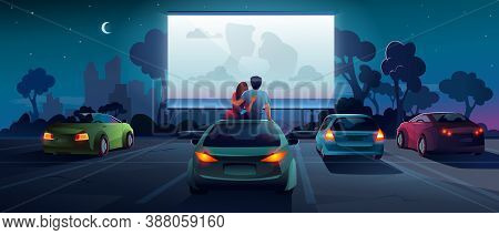 Drive Cinema Or Car Movie Theater, Auto Theatre, Cartoon Outdoor Screen Background. Car Cinema Or Dr