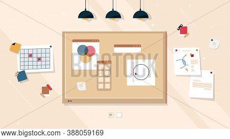 Creative Work Board Ideas And Business Project, Corkboard Or Cork Whiteboard Background. Creative Wo