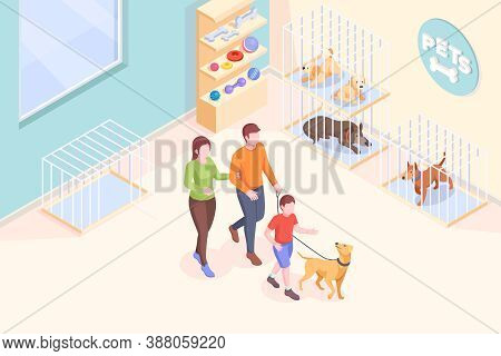 Pet Adoption, Family Takes Dog From Shelter, Isometric Illustration. Family Mother And Father With S