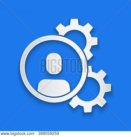 Paper Cut Head Hunting Icon Isolated On Blue Background. Business Target Or Employment Sign. Human R