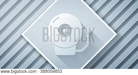 Paper Cut Ringing Alarm Bell Icon Isolated On Grey Background. Alarm Symbol, Service Bell, Handbell