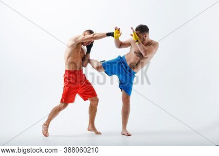 Two Men Boxers Fighting Muay Thai Boxing White Background